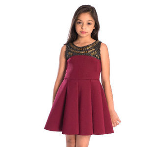 Zoe Ltd Dresses - NEW Zoe Ltd Burgundy & Gold Girls Holiday Dress